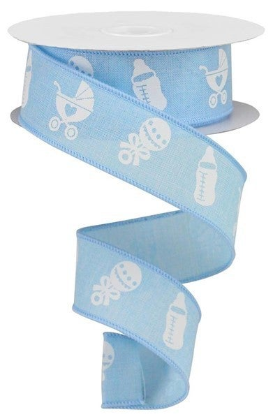 "1.5""X10yd Baby Items On Royal Blue"