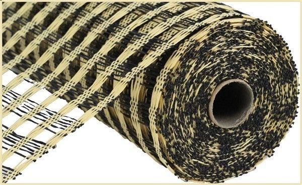 """21""""X10YD POLY BURLAP CHECK MESH Color: Beige/Black"""