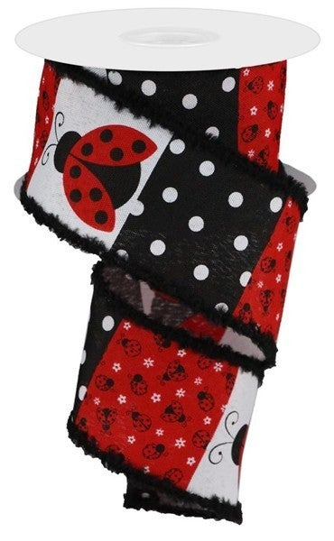 "2.5""X10yd Ladybug Block Pattern W/Drift White/Red/Black"