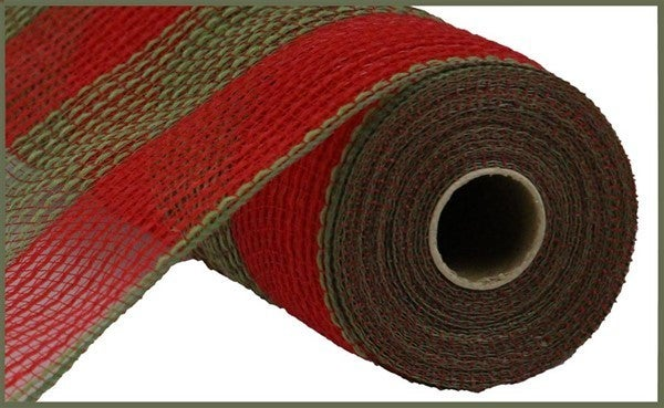 "10.5""X10yd Faux Jute/Pp Wide Stripe Red/Moss Green"