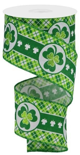 "2.5""X10yd Glitter Shamrock/Diamond Plaid"