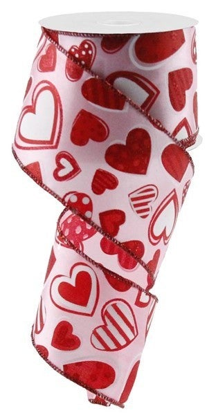 """2.5""""X10yd Patterned Hearts Light Pink"""