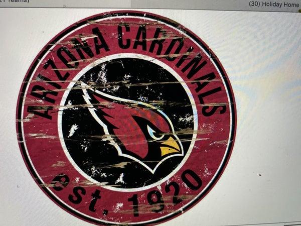 "12"" Destressed Wooden NFL Circle Sign - Arizona Cardinals"