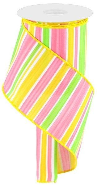 "4""X10yd Multi Width Horizontal Stripe Color: White/Grn/Pnk/Yllw"