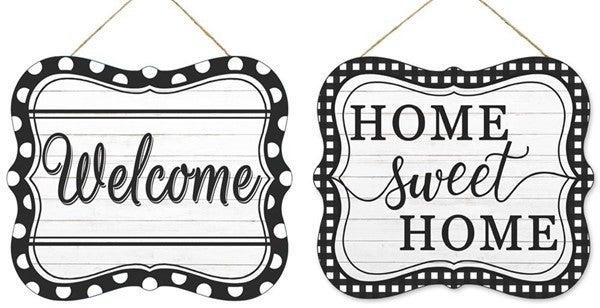 """2 Asst 7""""Lx6""""H Home Tin Sign"""