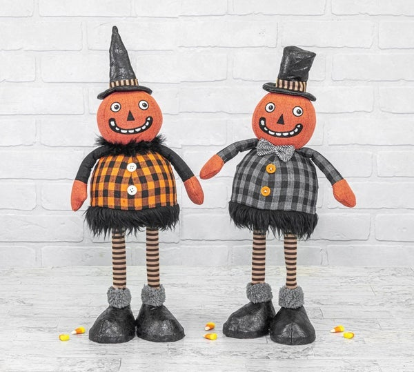 MIDNIGHT PLAID PUMPKIN BOBBLE BODY STANDER