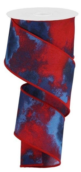 "2.5""X10yd Watercolor Blend Red/Blue/White"