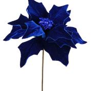 Velvet Poinsettia Pick W11xH22 Blue