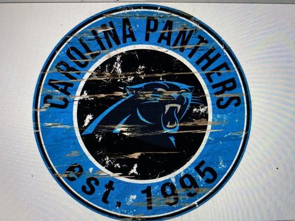 "12"" Destressed Wooden NFL Circle Sign - Carolina Panthers"