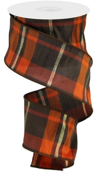 "2.5""X10yd Plaid Faux Dupioni Color: Brown/Orange/Gold"