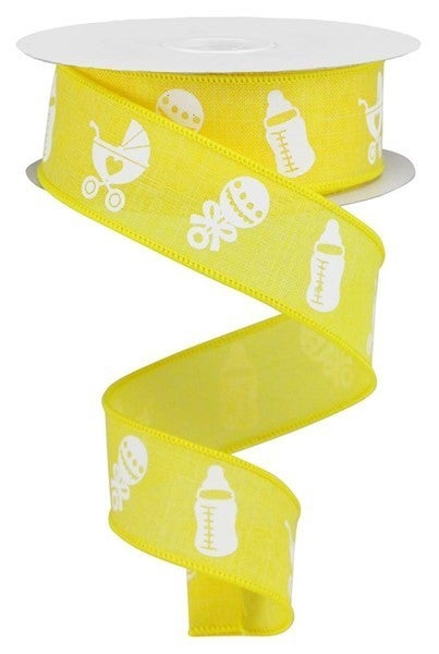 """1.5""""X10yd Baby Items On Royal Yellow"""