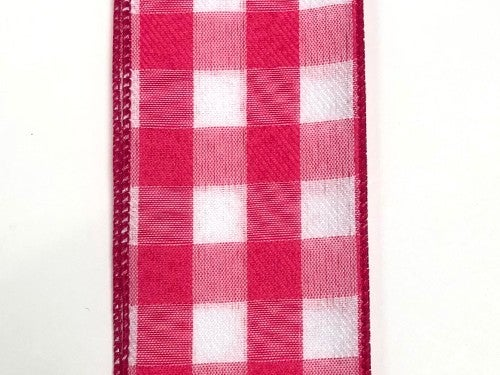2.5'x10yd Plaid Ribbon Pink/White