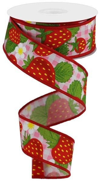 """1.5""""X10yd Strawberries On Woven Check Color: Pink/Multi/White"""