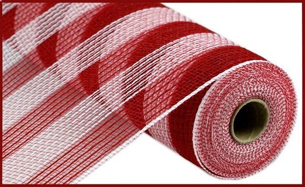 "10.5""X10yd Faux Jute/Pp Small Stripe Red/White"