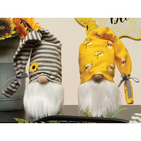 SUNSHINE GNOME WITH HAT, WOOD NOSE AND WHITE BEARD BEE PATTERN