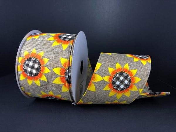 "Natural Linen/Sunflower BW Plaid Centers 2.5""x10yd"