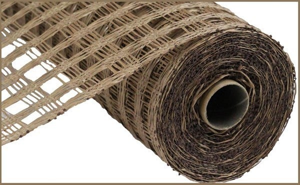 "10""X10YD POLY BURLAP CHECK MESH Color: Brown"