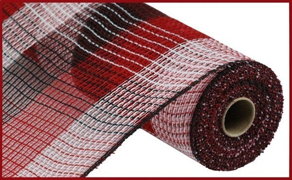 "10.5""X10yd Pp/Faux Jute Wide Check Mesh Black/Red/White"