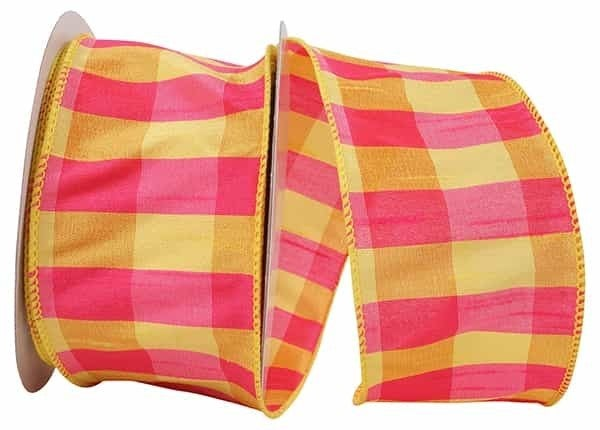 "CHECK DUPIONI COLORS WIRED EDGE YELLOW/FUCHSIA 2.5""x10yd"