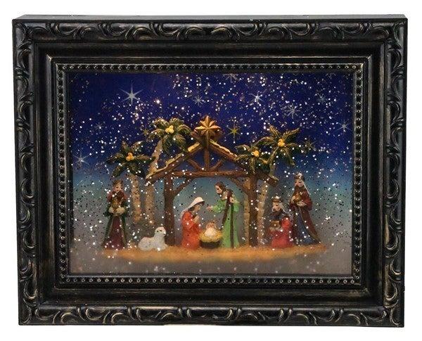 "9.5""L Nativity Picture Frame Snow Globe"