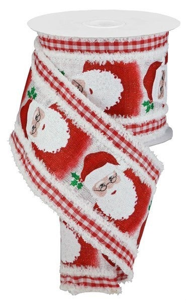 "4""X10yd 2 In 1 Santa/Gingham/Drift Color: Red/White"