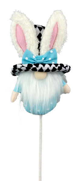 Bunny Harlequin Top Hat Gnome Pick W4xH20 Blue