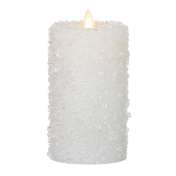 "3"" X 6"" Moving Flame Iced White Pillar Candle"