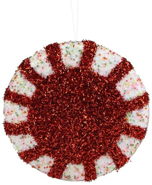 "7.5""Dia Glitter/Bead Peppermint Orn Red/White"