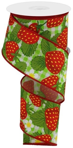 """2.5""""X10yd Strawberries On Woven Check Green/White"""
