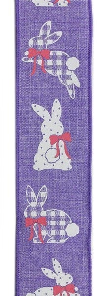 "2.5""X10yd Patterned Bunnies On Royal Lavender"