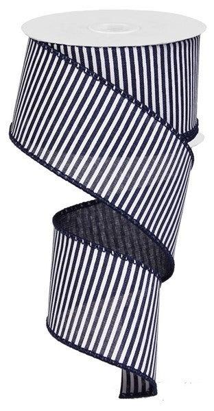 "2.5""X10yd Horizontal Stripes/Royal Color: Navy Blue/White"