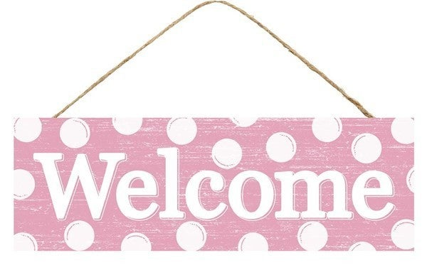 """15""""L X 5""""H Welcome W/Dots Sign Pink"""