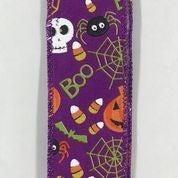 "Purple Linen/Fun Halloween 1.5""x10yd"