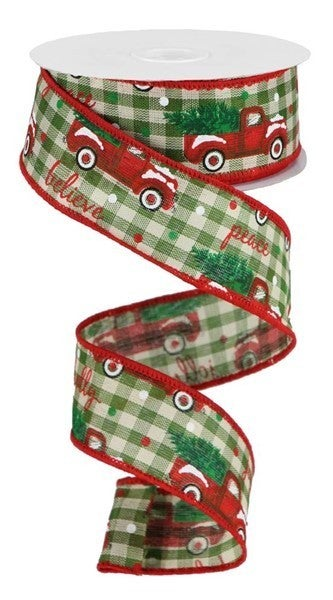"1.5""X10yd Christmas Trucks/Check Color: Sage/Ivory/Red/Green"