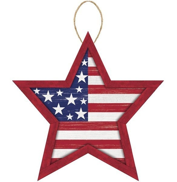"""12""""Lx11.75""""H Mdf Stars And Stripes Sign"""