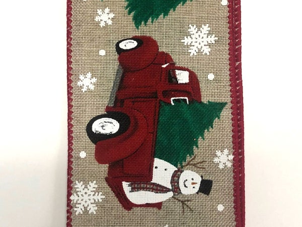 "Light Natural Linen/Frosty-Christmas Truck 2.5""x10yd"