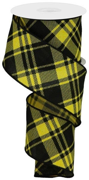"2.5""X10yd Diagonal Stripe/Check On Royal Yellow/Black"