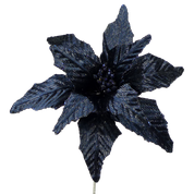 Velvet Poinsettia Pick DIA12xH15  Midnight blue
