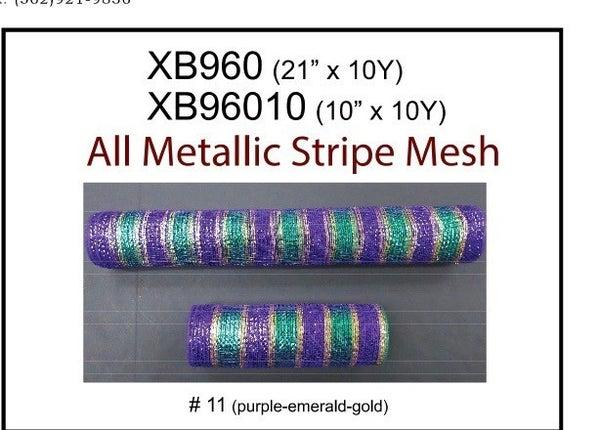 "PURP-EMRLD-GOLD METLC STRIPED MESH, 10""X10Y"