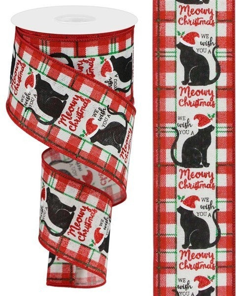 "2.5""X10yd Meowy Christmas On Royal Color: Ivory/Red/Black/Emerald"