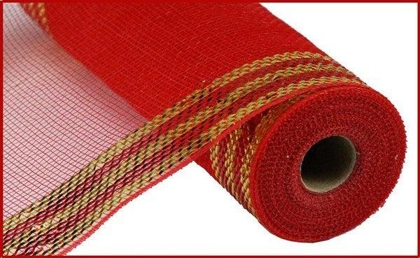 """10.5""""X10yd Border Stripe Metallic Mesh Red/Gold"""