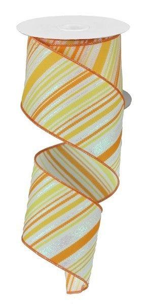 "2.5""X10yd Glitter Diagonal Lines Color: Yellow/Orange"