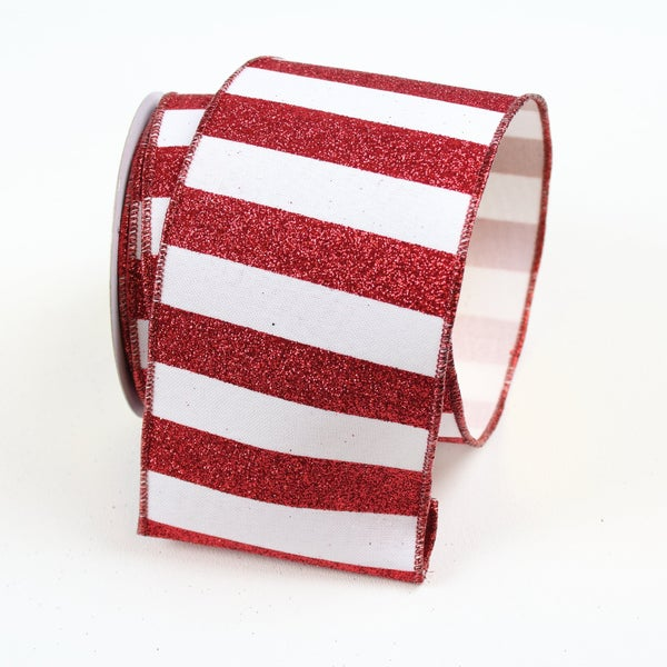 "GLITTER STRIPES 2.5"" X 10YD / RED WHITE"