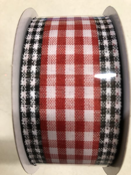 "1.5""X10yd Gingham Check/Edge Red/White/Black"