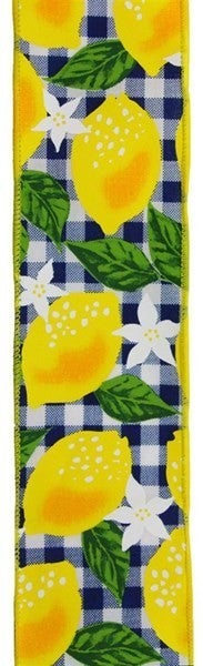 "2.5""X10yd Lemon W/Check Color: White/Yellow/Navy Blue"