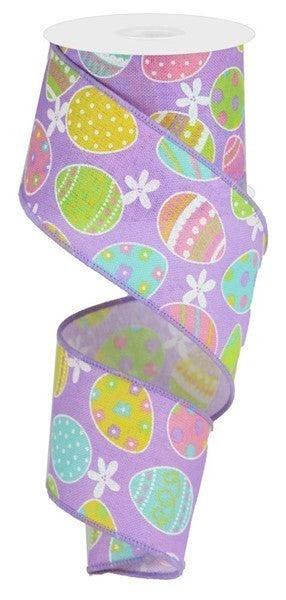"2.5""X10yd Easter Eggs On Royal Lav/Lt Pink/Grn/Soft Yllw"