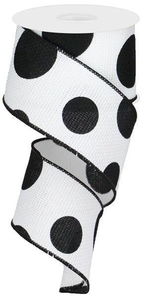 "2.5""X10YD LARGE POLKA DOT/CROSS ROYAL WHITE/BLACK"