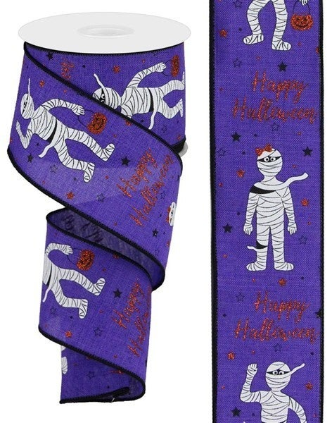 """2.5""""X10yd Mummies/Glitter On Royal New Purple"""