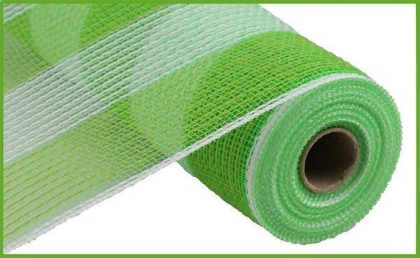 "10.5""X10yd Faux Jute/Pp Wide Stripe Fresh Green/White"
