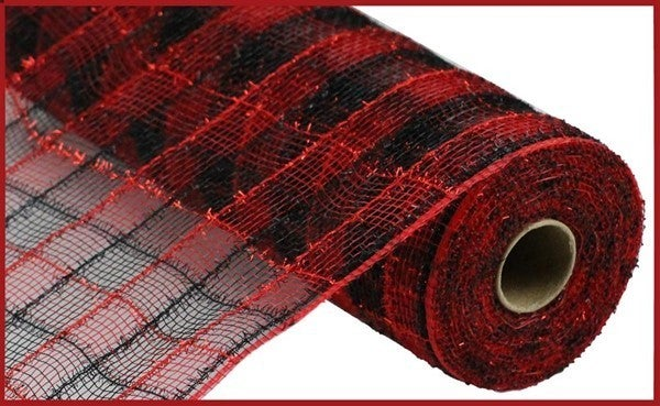 "10.5""X10yd Tinsel/Pp/Faux Jute Check BLack/Red"
